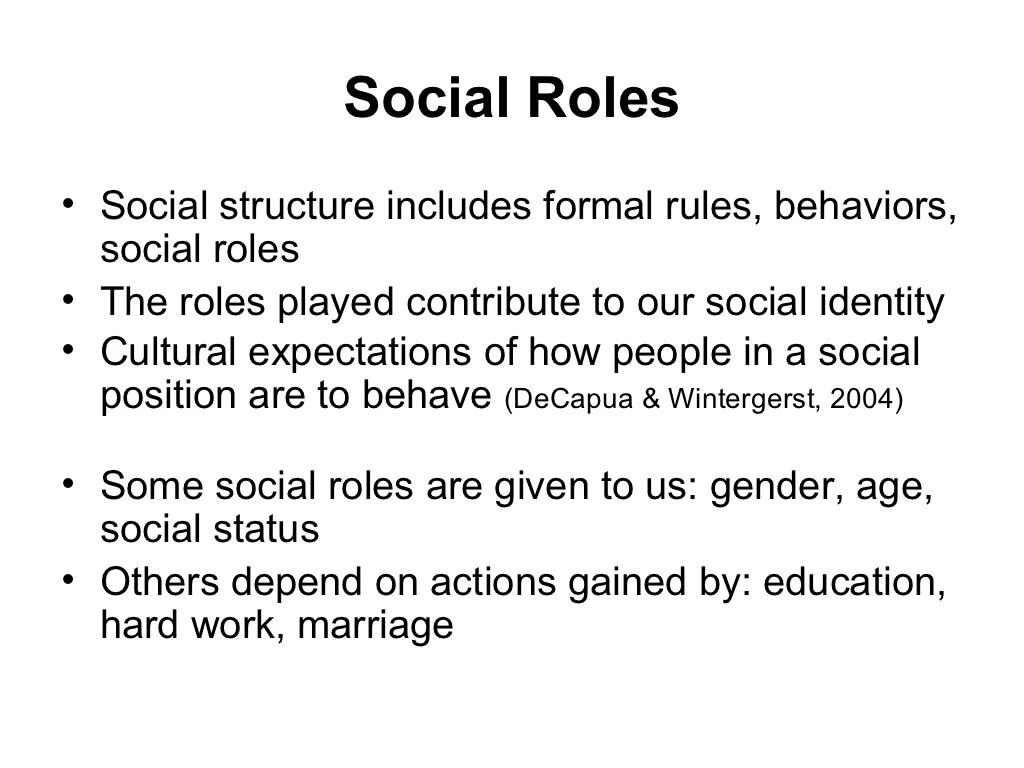 Social Roles Social Structure Includes