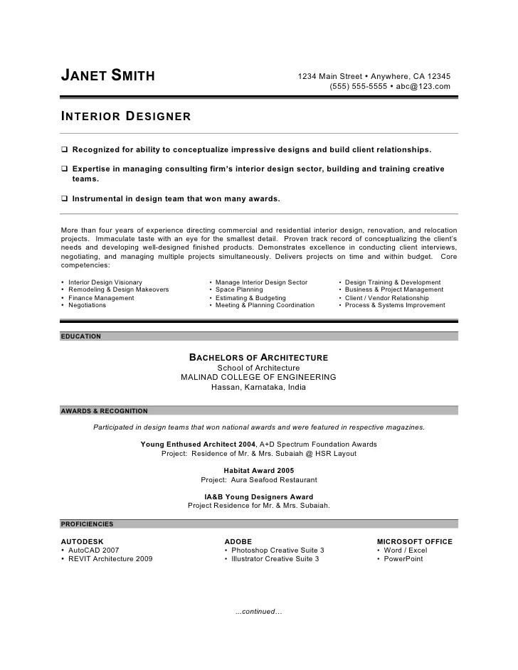 resume for interior designer interior design resume design resume