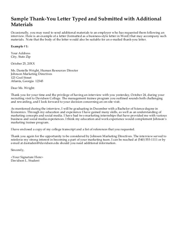 Sample thank you letter after college interview howtoviews sample thank you letter davidson college interviewing guide spiritdancerdesigns Images