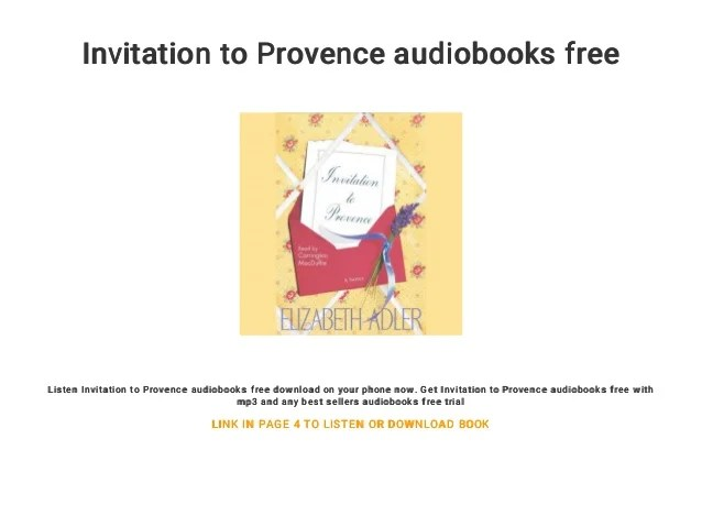 Invitation To Provence Audiobooks Free Listen On Your Phone Now