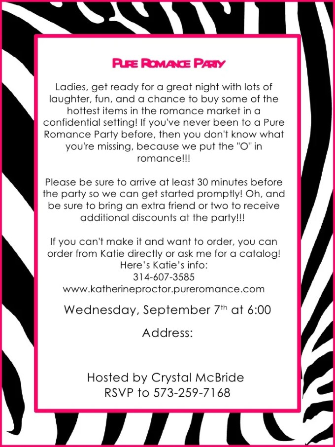Pure romance party invitation template dulahotw date night invitation wording feliciaday us pure romance invitation wording stopboris Gallery