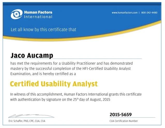 Jaco Aucamp Certified Usability Analyst