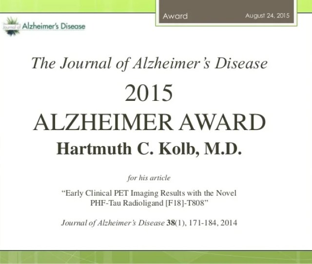 August  The Journal Of Alzheimers Disease