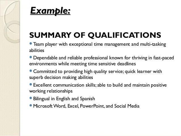 qualifications format resume