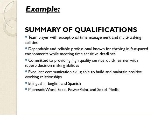 ability summary resumes template