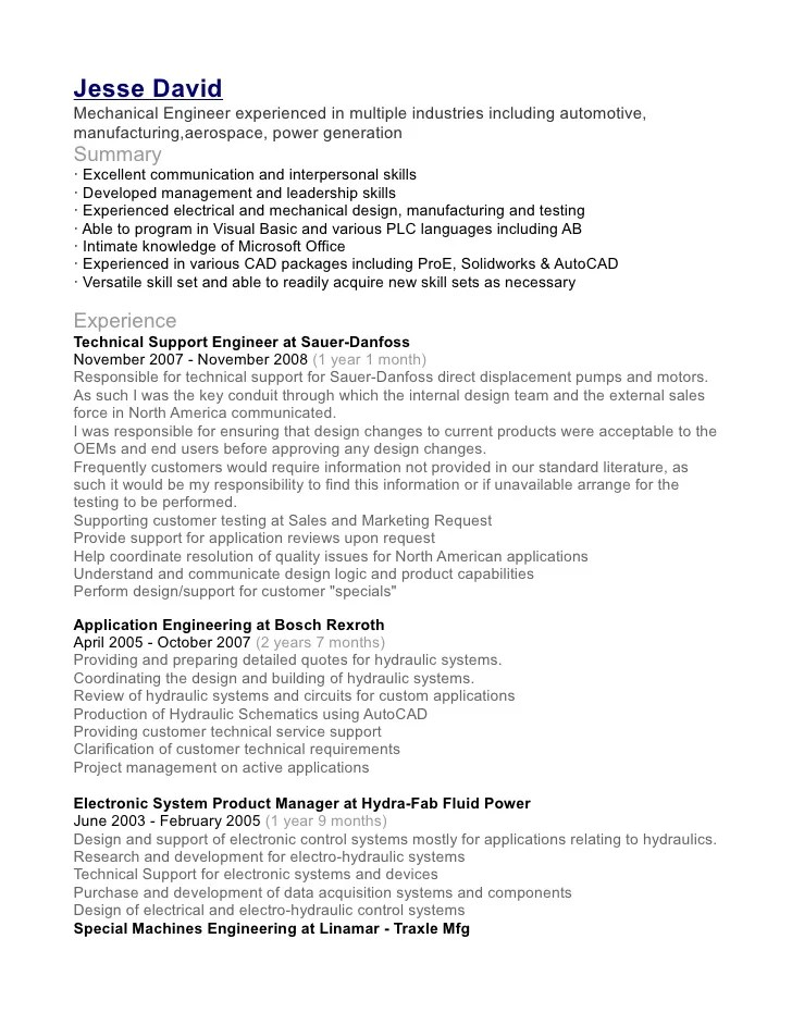 Doc.#550711: Mechanical Engineer Resume Examples – Mechanical ...