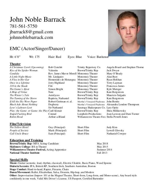 Kids Acting Resume. Acting Resume Example Best Acting Resume