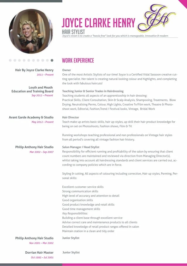 Stylist Resume Example. Master Resume Template Sample Hair Stylist