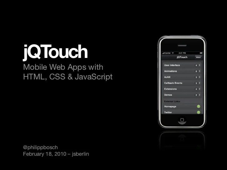 JQTouch Mobile Web Apps With HTML CSS And JavaScript