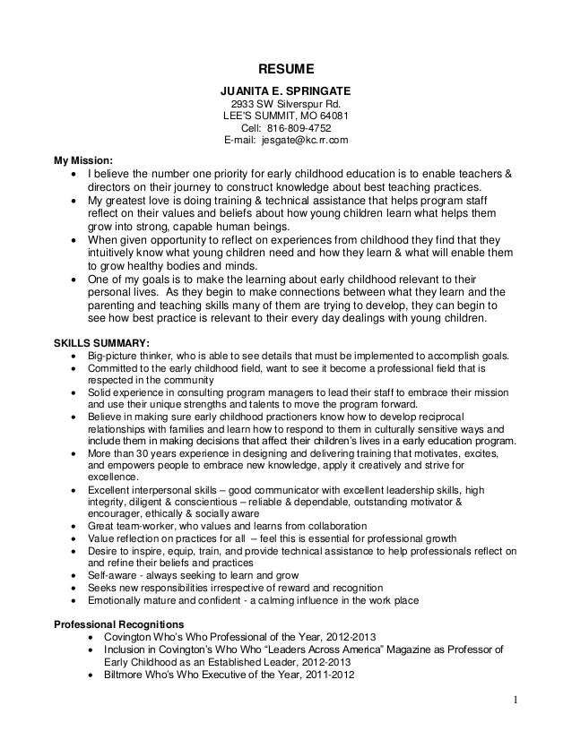 Early Childhood Teacher Resume. Sample Resume For A Early