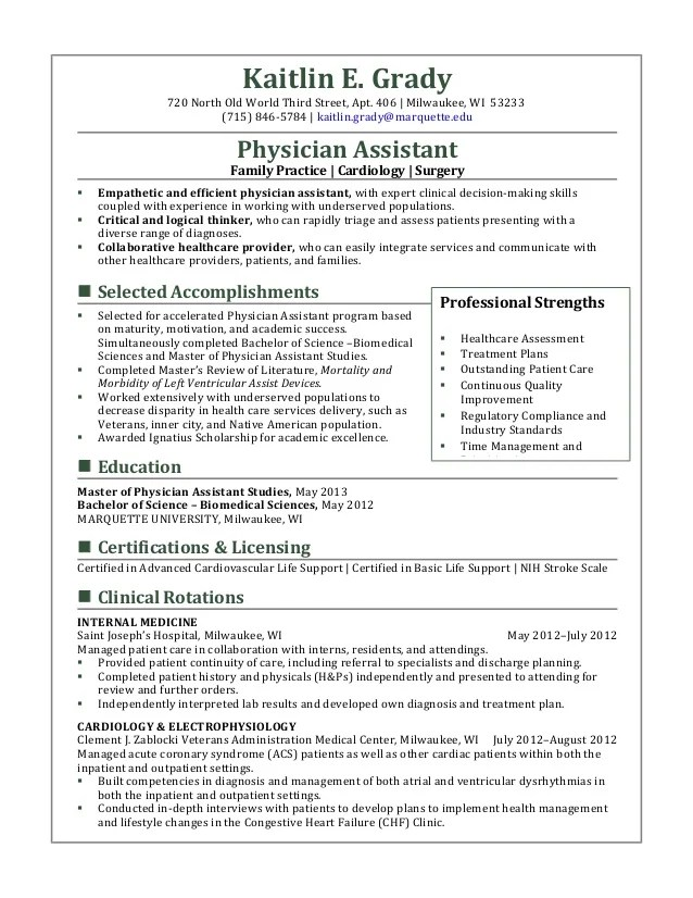 New Physician Assistant Cv kaitlin e grady 720 north old world third street apt 406