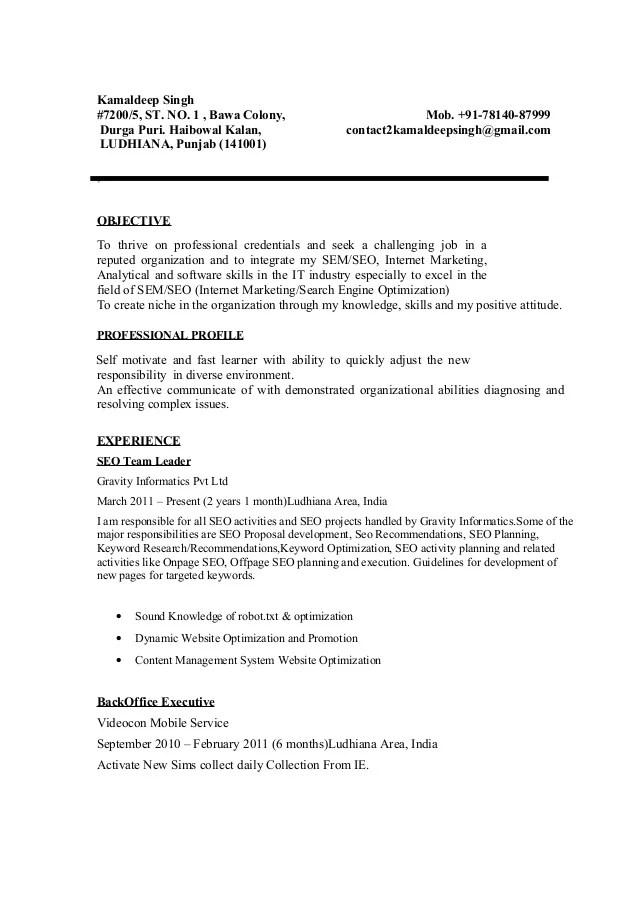 kamaldeep singh seo resume sample