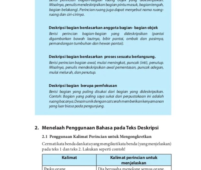 Bahasa Indonesia Jenis Pengembangan Deskripsi Bagian