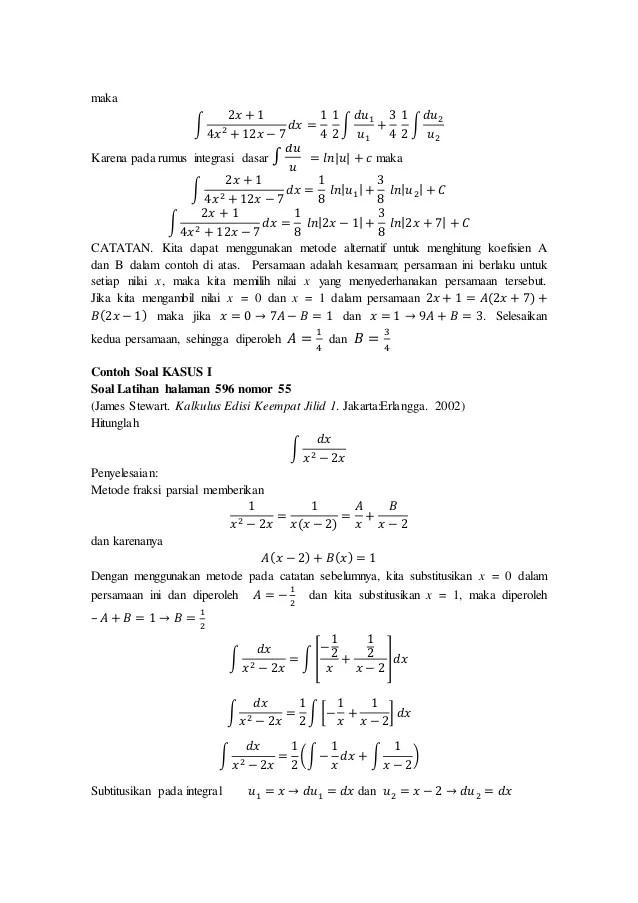 Contoh soal dan pembahasan integral bentuk pecahan kalkulus. Contoh Soal Dan Pembahasan Integral Fungsi Rasional Kumpulan Contoh Surat Dan Soal Terlengkap