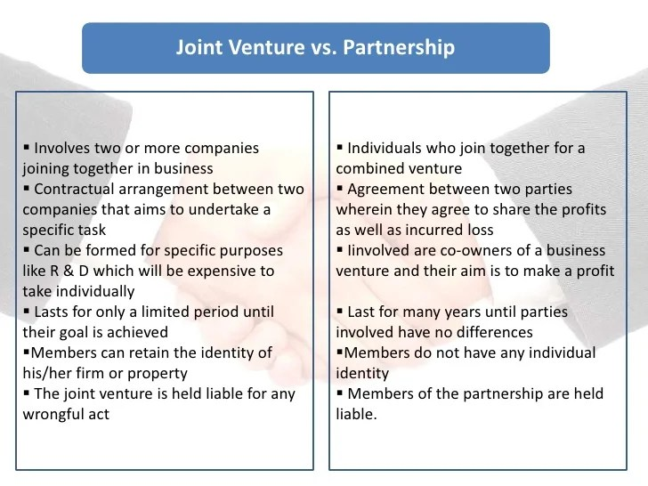 Image result for Difference Between a Joint Venture and Partnership