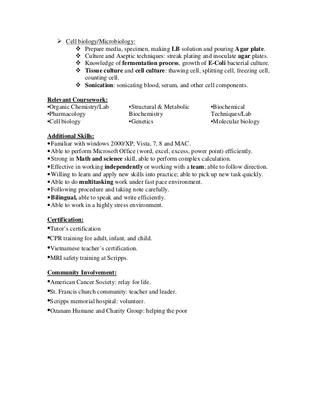 Curriculum Vitae Lab Technician Lab Technician Cover Letter
