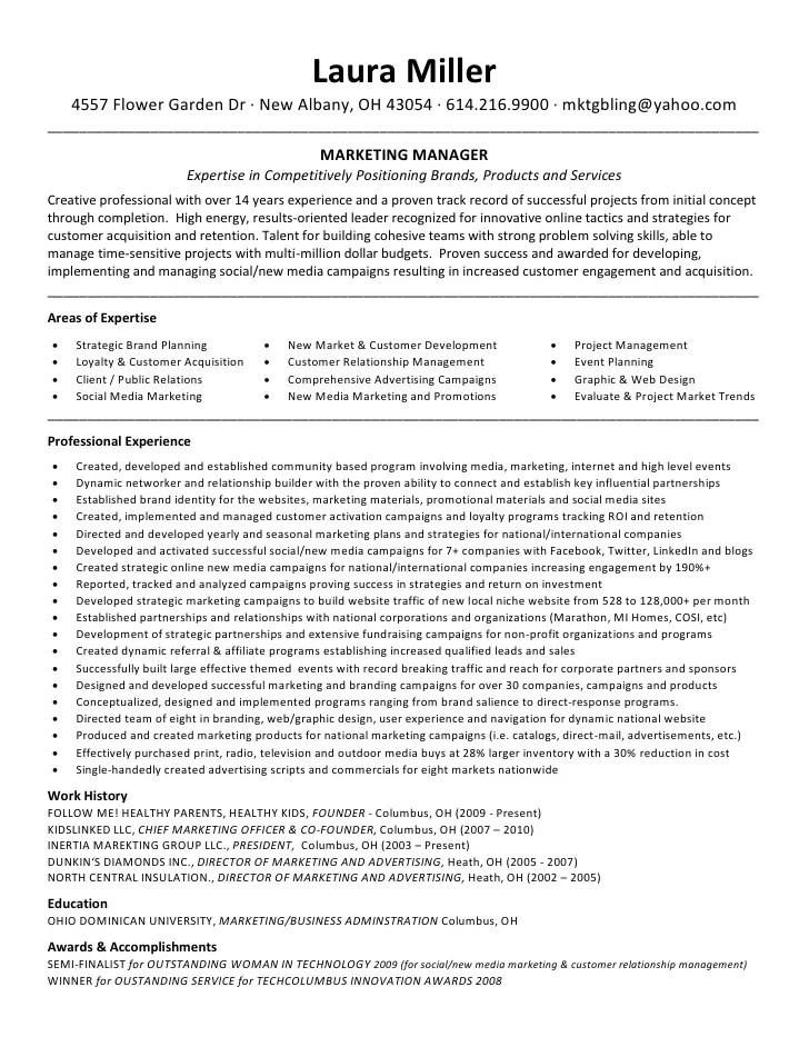 Marketing Resumes. Marketing Manager Resume Samples Marketing