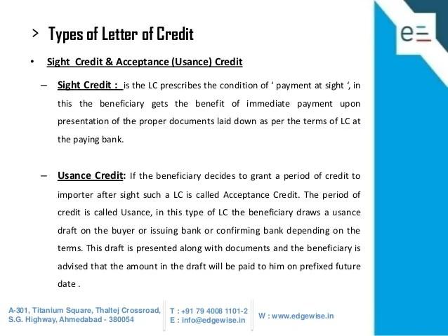 Letter Credit Sight Draft