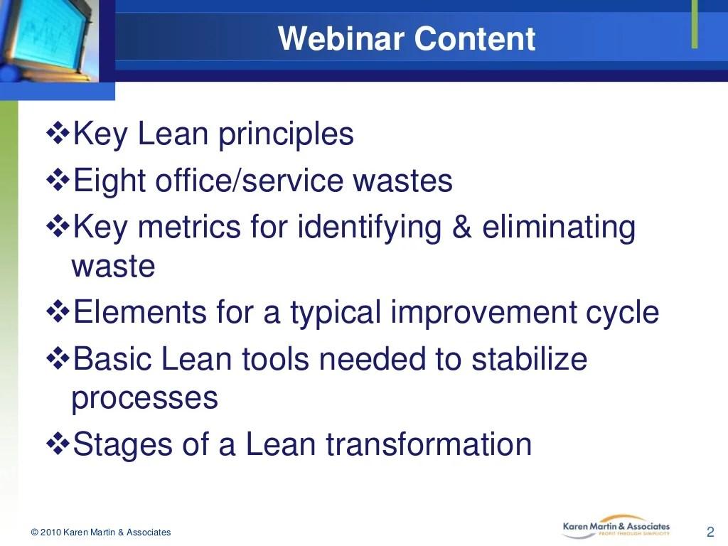Webinar Content Key Lean Principles