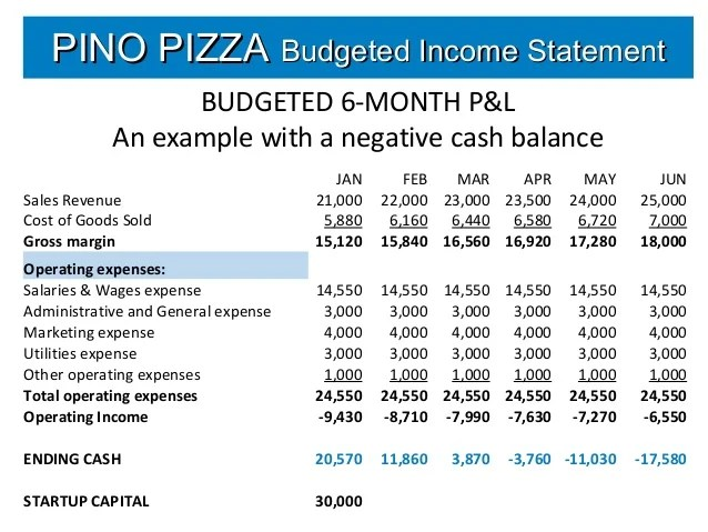 Restaurant Monthly Profit And Loss Statement Excel  Project