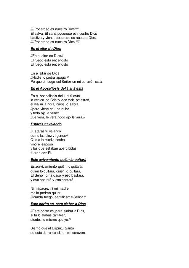 Letras Coritos De Fuego