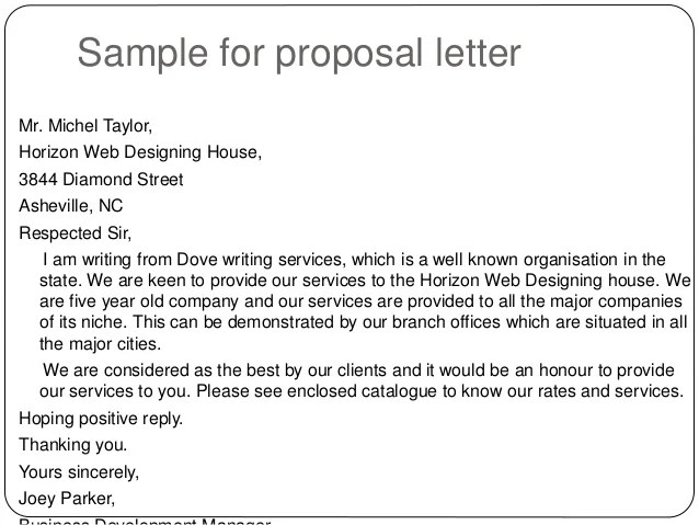 Doc9001165 Sample Business Proposal Letter Business Proposal – Letter Proposal Format