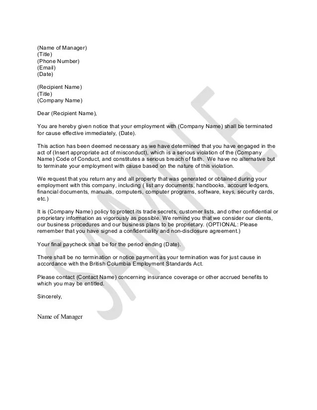 Termination Notice Template 12 contract termination letter – Termination Letter Template Free