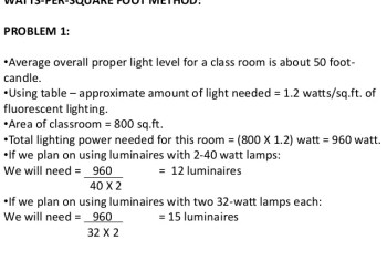 Calculating the Required Amount of Lighting for a Room