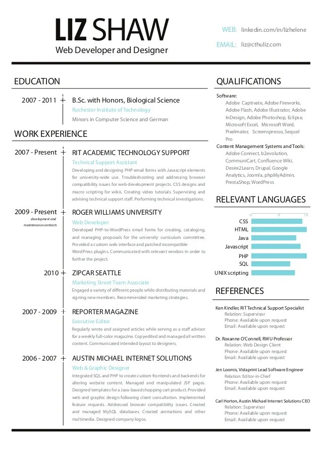 Web Resume. 23 professional html amp css resume templates for free ...