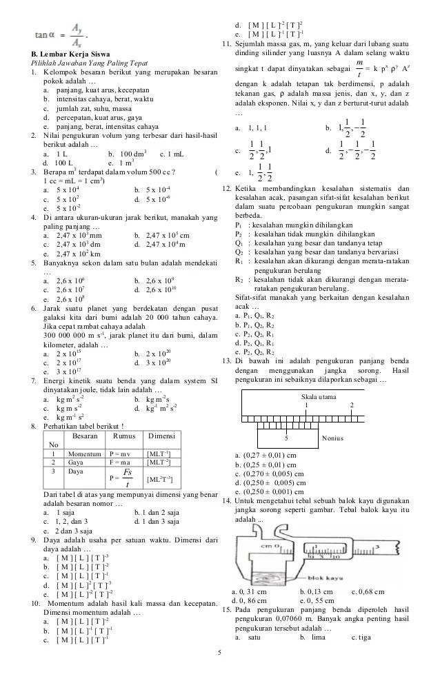 Contoh Soal Fisika Semester 2 Kelas 10
