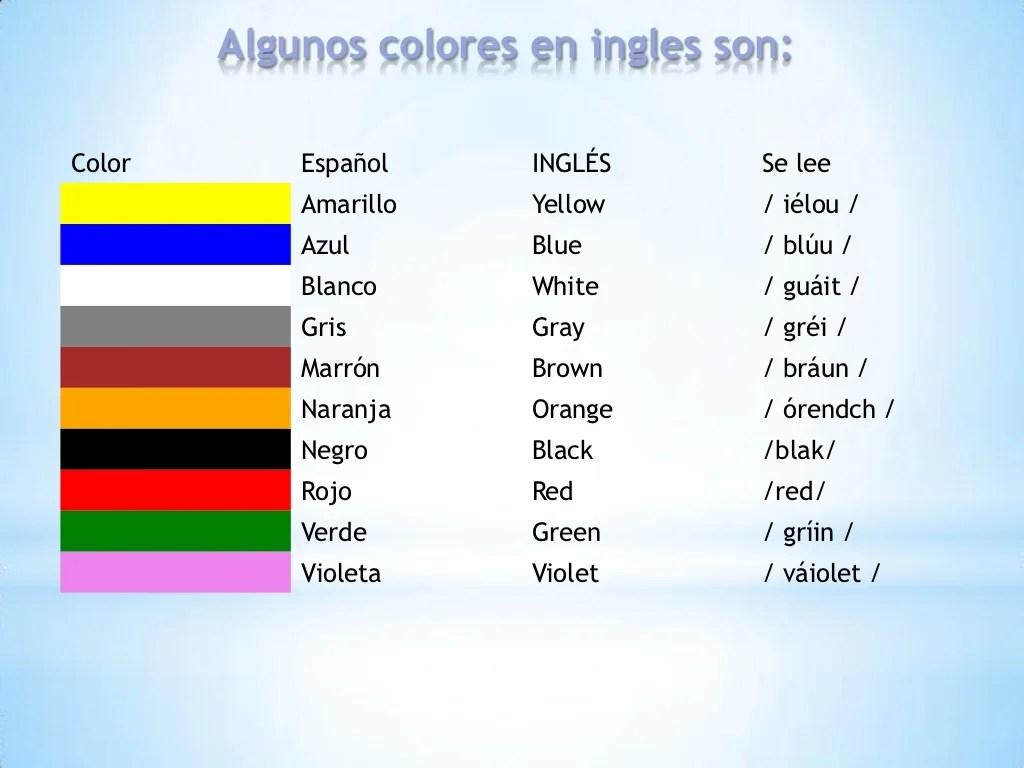 Los Colores En Ingles