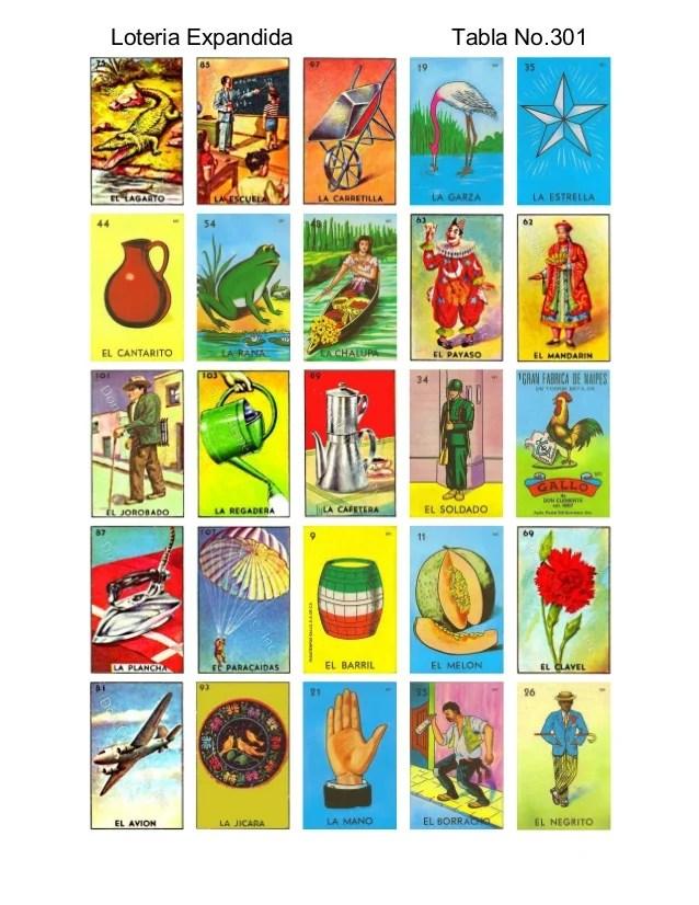Tablas De Loteria Mexicana Para Imprimir