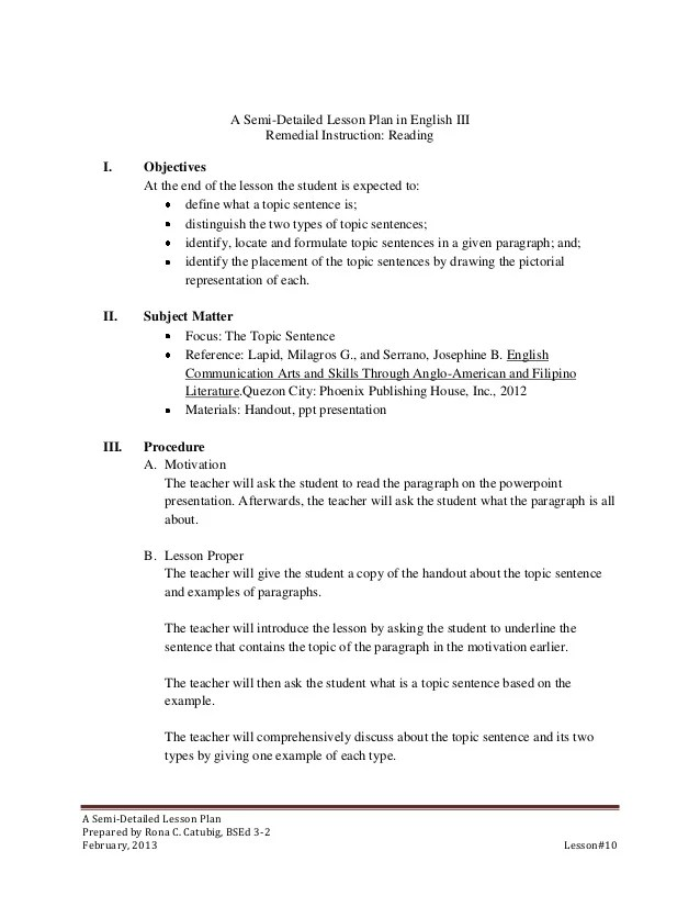 Detailed Lesson Plan Template Weekly Secondary Lesson Plan