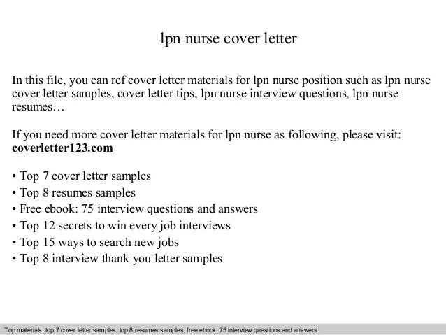 Lpn Sample Resume And Cover Letter For