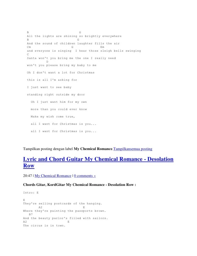 all i want for christmas chords my chemical romance christmaswalls co - All I Want For Christmas Guitar Chords
