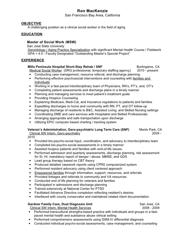 Job Resume Clinical Social Worker Resume Sample Social Worker In