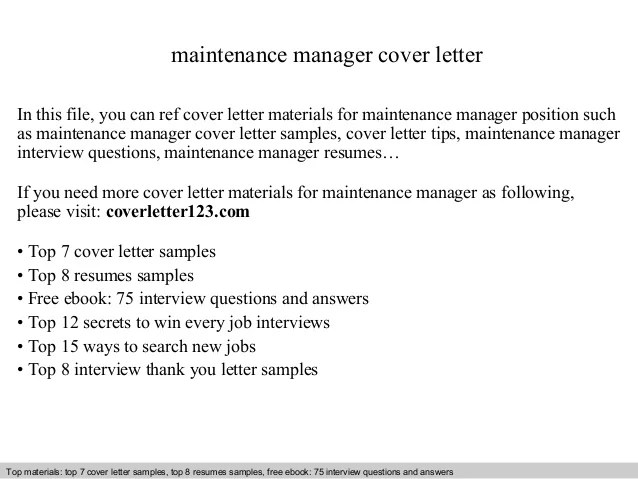 Maintenance Manager Duties Resume. maintenance manager cover ...