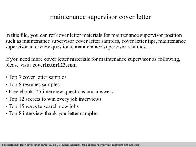 Sample Cover Letter For Maintenance Supervisor Job