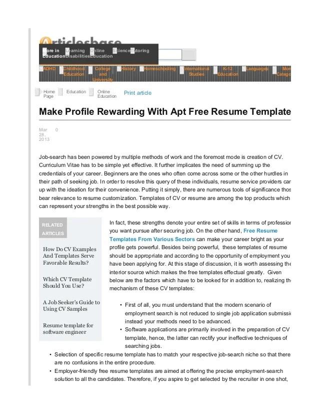profile rewarding with apt templates