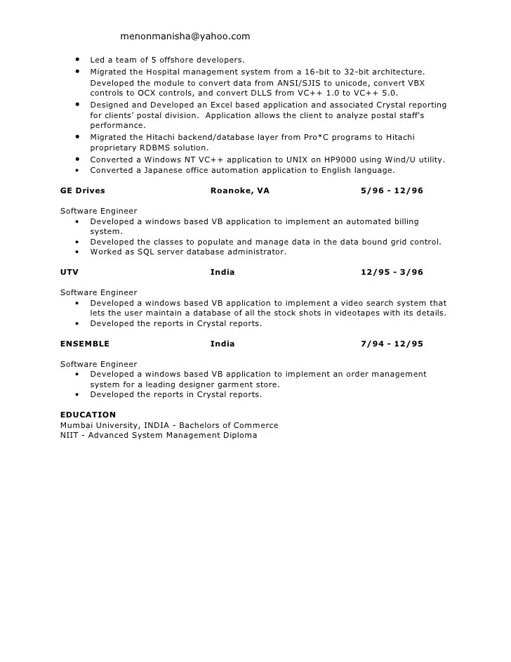 sample resume business objects developer creative and professional