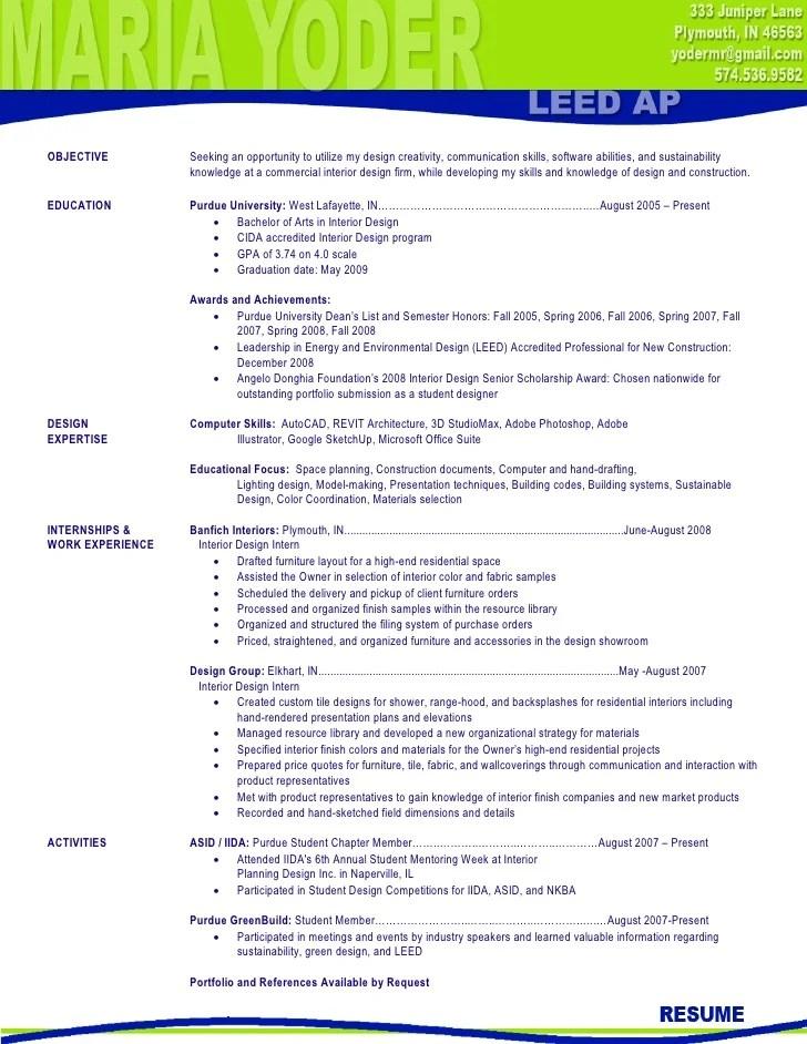 Interior Design Student Resume. Interior Design Resume Samples