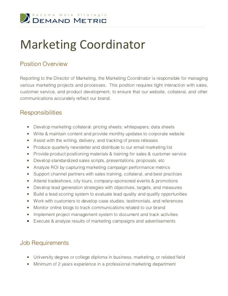 Resume For Marketing Coordinator. Marketing Assistant Cv Template