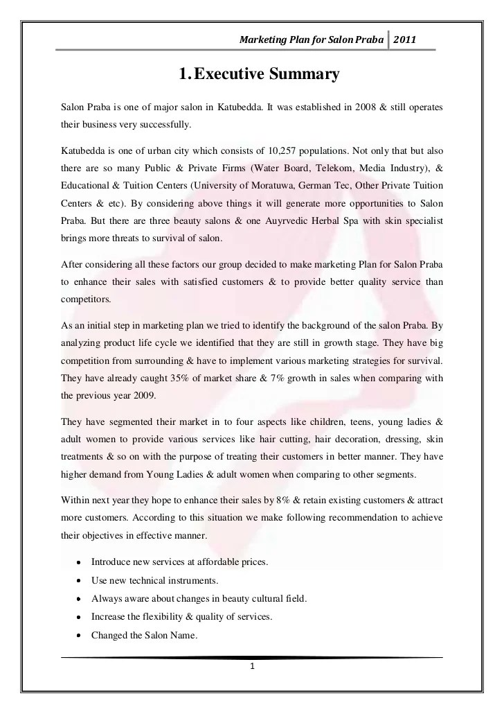 Beauty Salon Mission Statement Sample