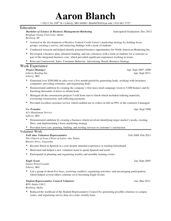 resume for handyman template