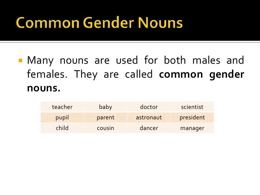 Masculine And Feminine Nouns