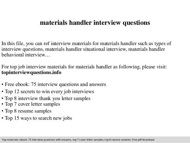 materials handler interview questions