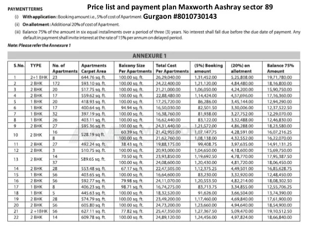 Price list and payment plan Maxworth Aashray sector 89 Gurgaon #8010730143