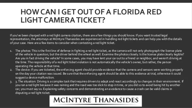 Mcintyre Thanasides Can You Fight A Red Light Camera Ticket