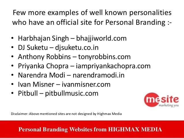 Me Site Personal Branding Website From Highmax Media