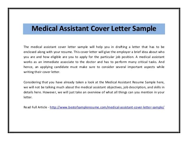 cover letter template for medical assistant - Template